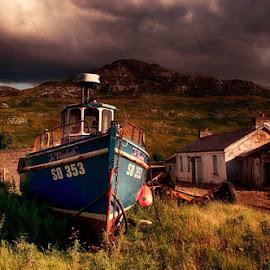 Moored by Debbie Deboo - Transportation Boats
