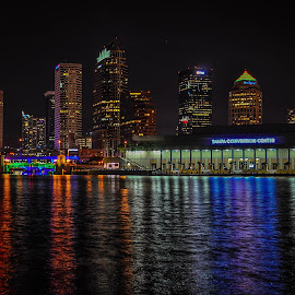 Tampa Bay Night by Skip Thompson - Novices Only Landscapes ( night scene, tampa, nightview, night, cityscape, nightscapes )