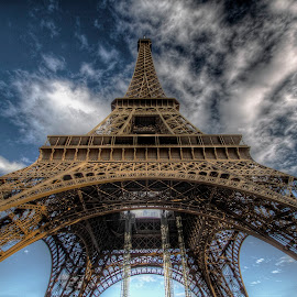 Eiffel Tower by Ben Hodges - Buildings & Architecture Statues & Monuments ( paris, eiffel tower, europe, hdr, cloud, france, travel )
