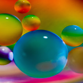 oil droplets on water by Carole Pallier Cazzazsnapz - Abstract Macro ( water, circles, drops, orbs, spheres, colours, oil )