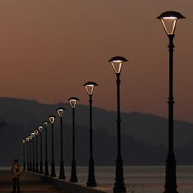 Evening by Irena Čučković - City,  Street & Park  Night ( romantic, walkway, danube, evening, river )