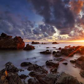 Malingping Sunset by Setiono Joko Purwanto - Landscapes Sunsets & Sunrises ( sunset, stone, rock, malingping, banten )