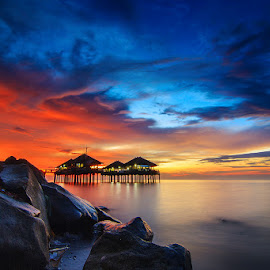 After The Rain by Kadek Jaya - Landscapes Sunsets & Sunrises ( bali, building, sky, sunset, slow speed )