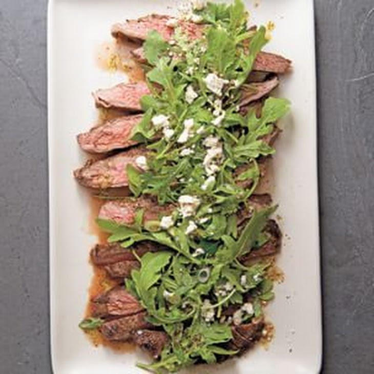 Marinated Flank Steak with Lemony Arugula and Feta Salad Recipe ...