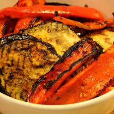 Grilled Aubergine & Peppers