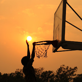 Sun setting into the basket by Sumit Kumar - Sports & Fitness Basketball ( basketball, nature, sunset, sports, sun,  )