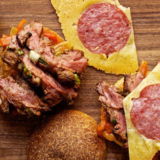 The Steak Bomb With Flap Steak, Scallions, and Salami-Cheese Crisps