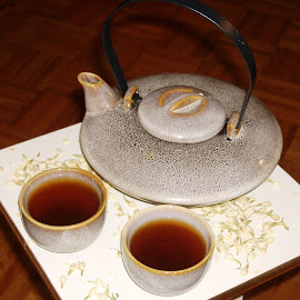 Tea for Two by Kathy Rose Willis - Food & Drink Alcohol & Drinks ( teapot, white, brown, table top, tea cup, gray, tea,  )