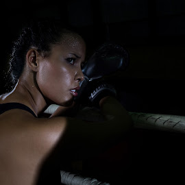 Taking a breather by Alejo Cedeno - Sports & Fitness Boxing ( colorful, boxer, beautiful, sports, gloves, beauty, cute, ringside, portrait, shadows, panama, sweating, girl, boxing )