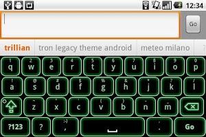Screenshot of Green Glow Code Keyboard Skin