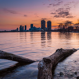 Sunnyside Sunset by Steve McCaffrey - Landscapes Sunsets & Sunrises ( water, clouds, skyline, sunnyside, toronto, lake, ontario, beach, landscape, humber, sky, lumix, sunset, panasonic )