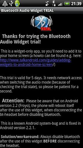 Bluetooth Audio Widget TRIAL