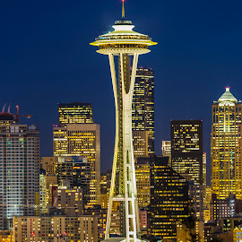 Home of the 1962 World Fair by Bill Kuhn - City,  Street & Park  Skylines ( skyline, space needle, seattle, nighttime, downtown, city )