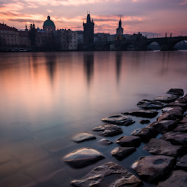 Mysterious morning in Prague by Lenka Nejedlá - City,  Street & Park  Historic Districts ( water, tower, vltava, czech republic, prague, charles bridge, river )