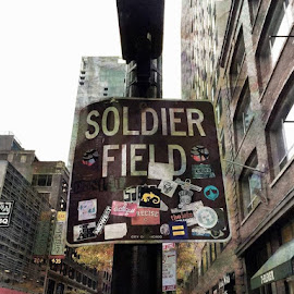 To the field by Tricia Scott - City,  Street & Park  Street Scenes ( sign, street sign, sinage, street, buildings, road, chicago, grafiti, city )