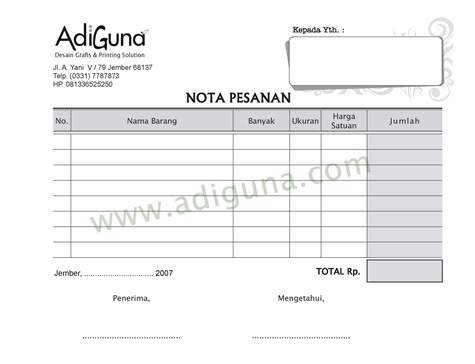 Template Nota versi MSWord (gratis download)