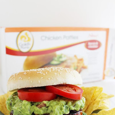 BBQ Bacon-Cheddar Chicken Burgers with Pineapple Guacamole