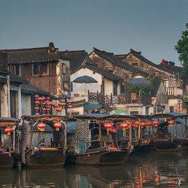 Jianshan Water Taxis by Fant Smith - Landscapes Travel ( water taxi, chinese lantern, china,  )