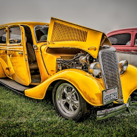 Yellow Rod by John Arnold - Transportation Automobiles ( hdr, automobile, hotrod, yellow, antique )