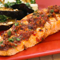 Grilled Salmon with Sun-Dried Tomato, Olive, Caper, and Parsley Relish