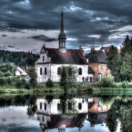 reflection in hdr by Kalinka Vehmendahl - Digital Art Places ( water, reflection, hdr, church, tjechie )