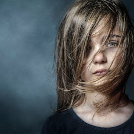 Sadness by Marcin Trojak - Babies & Children Child Portraits ( studio, girl, sad, smoke, portrait )