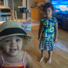 going to the beach by Valerie Reyes - Babies & Children Children Candids ( silly, blonde, smile, toddler, hat )