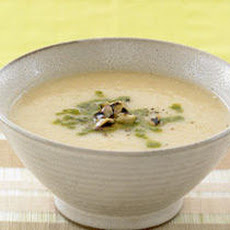 Roasted Elephant Garlic Soup with Grilled Eggplant Recipe