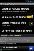 Screenshot of Notification of talk time
