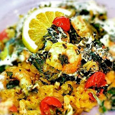 Garlicky Shrimp and Spinach Bake