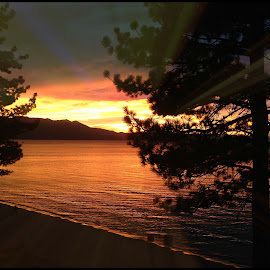 lake tahoe sunset by Leslie Hunziker - Instagram & Mobile iPhone ( clouds, nature, sunset, lake tahoe )