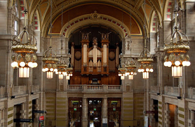Organ and hanging lights