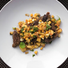 Skirt Steak With Warm Spicy Corn and Peach Salsa