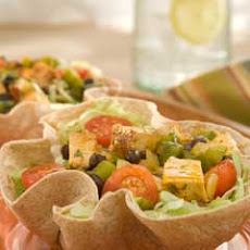 Blackened Chicken & Vegetable Tortilla Bowls