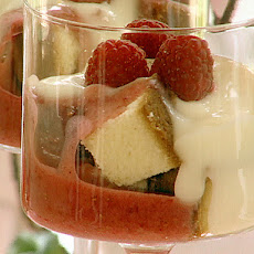 Raspberry Trifle with Rum Sauce
