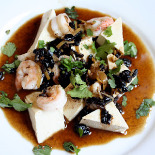 Steamed Tofu with Shrimp and Black Bean Sauce