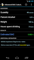 Screenshot of Blood Alcohol Calculator