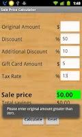Screenshot of Sale Price Calculator