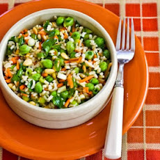 Brown Rice and Green Garbanzo Salad with Carrots, Parsley, and Pine Nuts