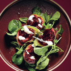 Fig Salad with Goat's Milk Yogurt and Pepper Cress
