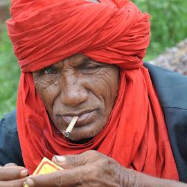 Red Turban by Surya Mulagada - People Portraits of Men ( red, smoking, biri, indian, villager,  )