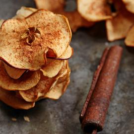 Apple Chips by Vrinda Mahesh - Food & Drink Cooking & Baking ( homemade chips, cinnamon, rustic food shots, food, fall baking, snacks, apples, baking, apple chips, rustic )