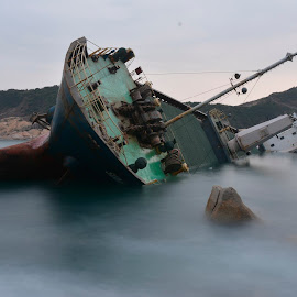 Ship Wrecked by K.C. Chan - Transportation Boats ( hong kong, shipwreck, ship, slow speed, lonely )