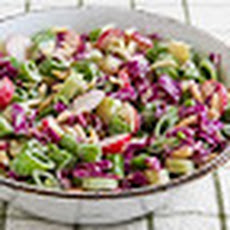 Asian Chopped Salad with Broccoli Stems, Sugar Snap Peas, Radishes, Red Cabbage, and Almonds