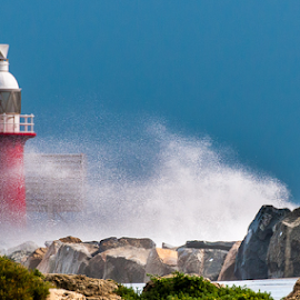 Storm by Photoxor 2014 - Landscapes Weather ( water, fremantle, red, leuchtturm, harbor, blue, australia, lighthouse, weather, storm, rocks, , colorful, mood factory, vibrant, happiness, January, moods, emotions, inspiration )