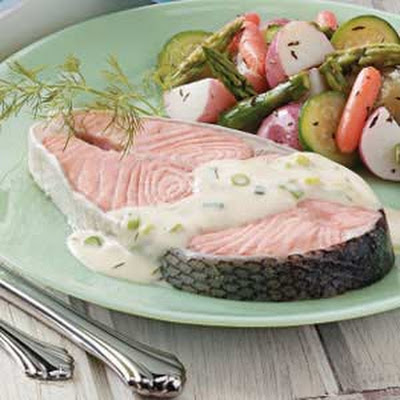 Creamy Dill Salmon Steaks