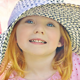 Enjoying Sunshine Through My Hat by Cheryl Korotky - Babies & Children Child Portraits ( hats, pose, hats on kids, a heartbeat in time photography, beautiful, amazing faces, beautiful children, big hats, child model nevaeh, pretty, portrait )