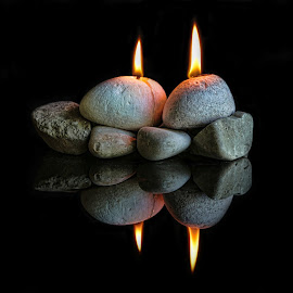 Rocks by Berrin Aydın - Artistic Objects Still Life ( mirror, candles, reflections, stones, black,  )