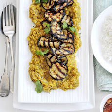 Sweet & Sour Lentil Dhal With Grilled Aubergine