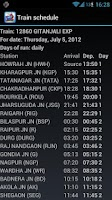 Screenshot of PNR status and train info